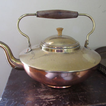 Vintage Copper Tea Kettle | Made in Holland | Brass Tea Pot | gooseneck spout