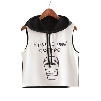 First I Need Coffee Tank Tops - Women's Novelty Hooded Sleeveless Tops