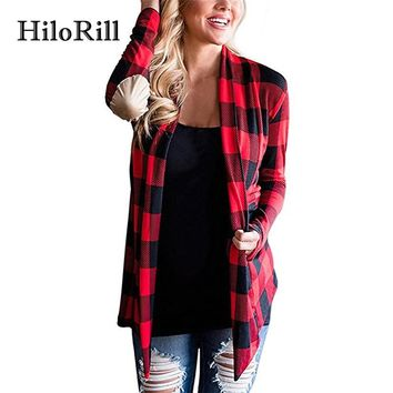 HiloRill Female Cardigans Women Fall 2017 Fashion Plaid Print Long Sleeve Knitted Sweater Cardigan Poncho Elbow Patchwork Coat