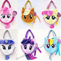 hot 6 colors Children My Little Pony Plush Handbags/Baby Colorful Cute Horse Bags/Shopping Bags Kids Cartoon Bags/Wallets D079