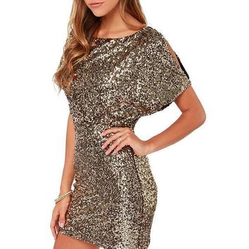 Gold Sequin Bodycon New Years Eve Party Dress