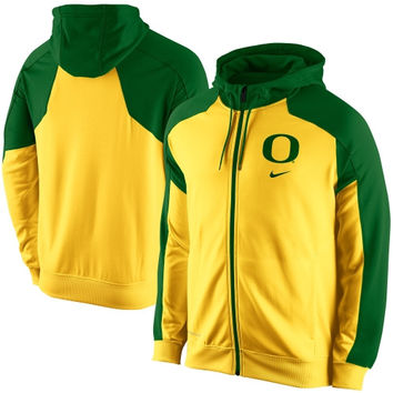 Nike Oregon Ducks Game Time Full Zip Performance Hoodie - Yellow/Green