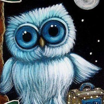 5D Diamond Painting Blue Owl With Suitcase Kit