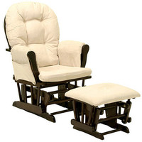 Walmart: Storkcraft - Bowback Glider Rocker and Ottoman Espresso Finish, Beige Cushions