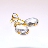 Cut crystal drop earrings, gold earrings, faceted crystal,everyday elegance