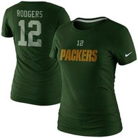 Nike Aaron Rodgers Green Bay Packers Ladies Player Name and Number T-Shirt - Green