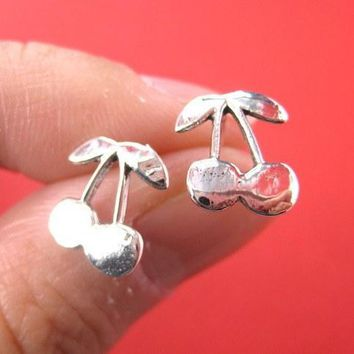 Cherry Shaped Stud Earrings in Sterling Silver | DOTOLY