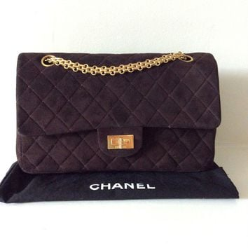 CHANEL 2.55 REISSUE BROWN SUEDE DOUBLE FLAP BAG