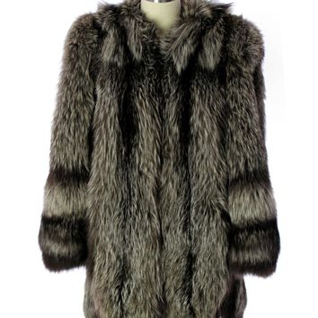 Silver Fox Coat Jacket Vintage 1940s Huge Shoulders Stunning Large  E.DiFulvio Furrier