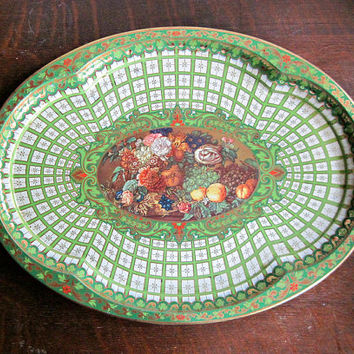 Vintage Metal Tray, Daher Decorated Ware, Thanksgiving Harvest