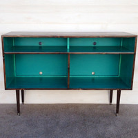 Mid Century Modern Record Cabinet TV Table Media Table w/ Sound Bar Shelf TV Stand Entertainment Cabinet, MCM Teal and Chocolate