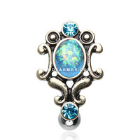 Vintage Victorian Opal Hinged Reverse Belly Button Ring (Aqua)