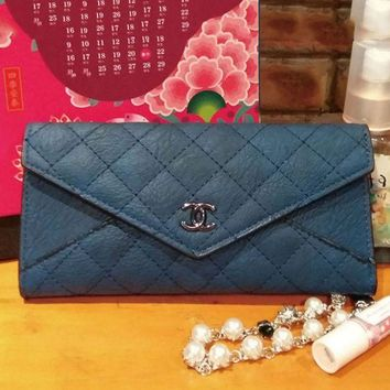 PEAPUF3 Chanel Women Zipper Leather Purse Wallet Satchel bag Blue