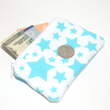 Aqua Stars Coin Bag - Star Coin Purse - Stars Change Purse - Small Coin Purse - Small Zipper Pouch - Stars Party Favor - Zipper Change Purse