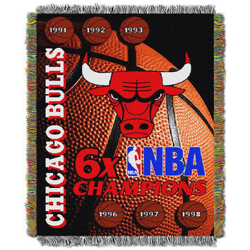 Chicago Bulls NBA 6X Commemorative Woven Tapestry Throw Blanket by Northwest (48x60)