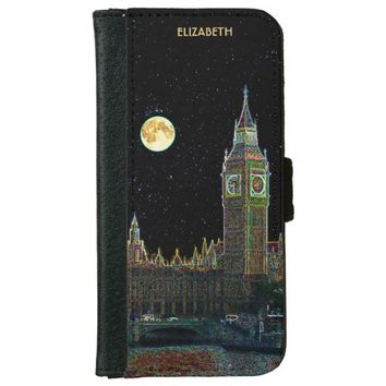 London Parliament Skyline At Night With Fool Moon Wallet Phone Case For iPhone 6/6s