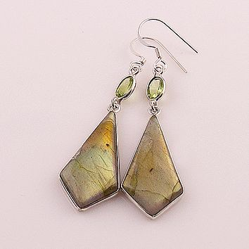 Labradorite & Peridot Sterling Silver Earrings