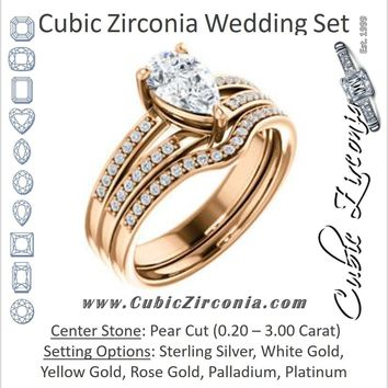 CZ Wedding Set, featuring The Lyla Ann engagement ring (Customizable Pear Cut Design with Wide Double-Pavé Band)