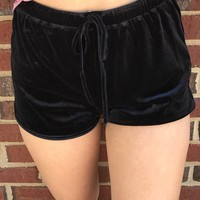 Kacey Velvet Shorts - Black