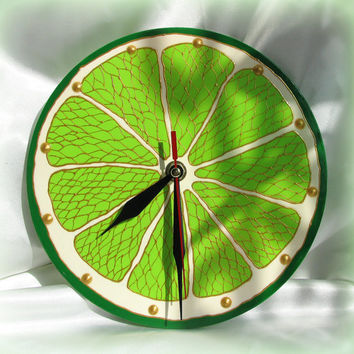 Citus Wall Clock  Round Lime Lemon Orange Grapefruit  Hand Painted Glass Home Decor