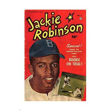 JACKIE ROBINSON MAG COVER vintage poster 1947 BASEBALL dodgers 1947 PRECIOUS