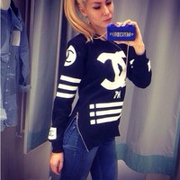 Chanel Fashion Zipper Stripe Long Sleeve Top Sweater Pullover