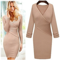 Women Work Wear Office Dress V-neck = 1956724228