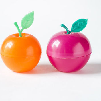 Vintage plastic salt and pepper shakers set of 2 apples orange and pink shades kitchen decor