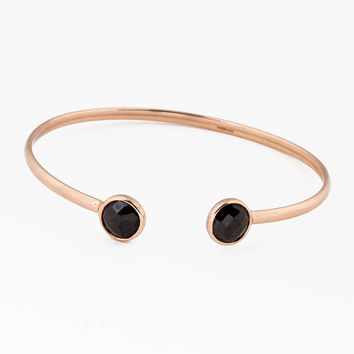 Rose Gold Bangle Bracelet • Black Stone Cuff • Rose Gold Cuff Bracelet • Stacking Bracelet • Bridesmaid Gift • Simple Bracelet • 0093BM