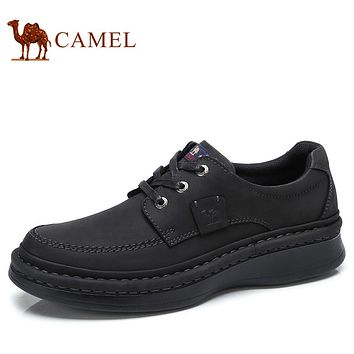 CAMEL Autumn Genuine Leather Men's Shoes Lace-up Man Outdoor Casual Thick Bottom Scrub Cowhide Non-slip Male Shoes