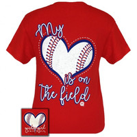 Girlie Girl My Heart is on the Field Baseball Red T-Shirt