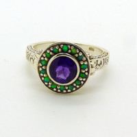 Art Deco Natural Amethyst and Opal Sterling Silver Poison Pill Box Ring