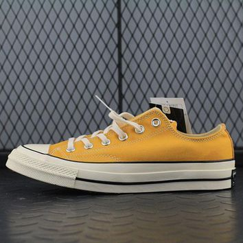 converse 1970s fashion canvas flats sneakers sport shoes yellow