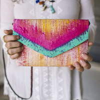 Cross body purse/envelope clutch purse/ handcrafted from canvas/boho chic envelope purse for women