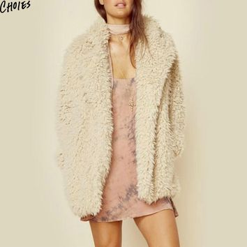 Beige Wide Lapel Faux Shearling Coat Women Winter Long Sleeve Pockets 2017 New Longline Warm Woolen Thick Outwear