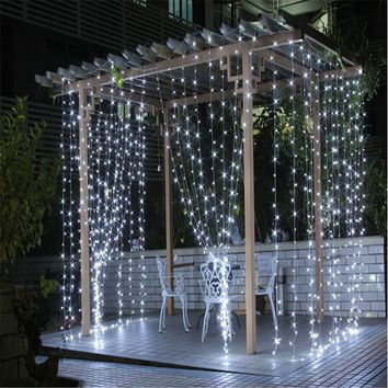 3M X 3M(9.8ft x 9.8ft) 300 LEDs Outdoor Curtains Home Fairy Lights Wedding Party Christmas Decorative String US EU Plug (Color:W