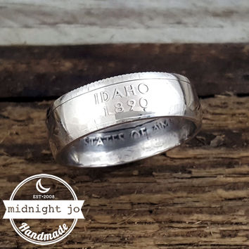 Idaho 90% Silver State Quarter Coin Ring