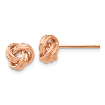 14K Rose Gold Polished Love Knot Post Earrings