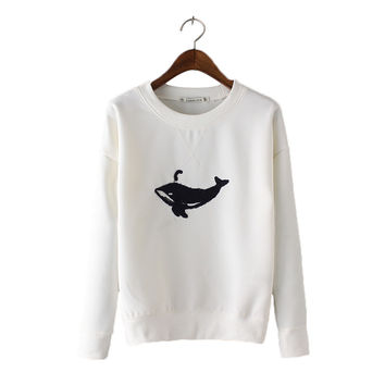 Women cute Embroidery whale pullover casual long Sleeve Sweatshirts black white O-neck feminine office casual tops SW910