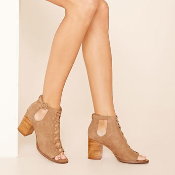 Faux Suede Cutout Booties