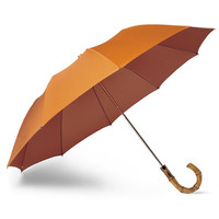 Bamboo Handle Orange and Tan Umbrella