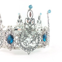 Ariel - Teal Silver Filigree Crystal Crown - Ready to ship