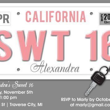 Sweet 16 License Plate Birthday Invitations
