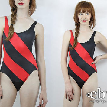 Vintage Swimsuit Black Swimsuit Black Bathing Suit Striped Swimsuit Red Swimsuit Vintage 80s Red + Black One Piece Bathing Swim Suit
