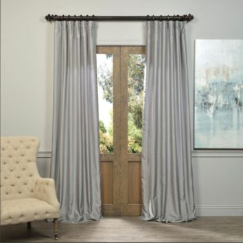 Drapes Silver Vintage Textured Faux Dupioni Silk Single Panel Curtain