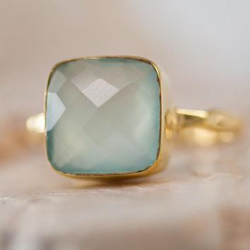 Aqua Blue Chalcedony Ring - Gemstone Ring - Stacking Ring