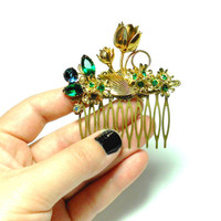 Emerald Jeweled Hair Comb - Floral Hair Comb - OOAK Bridal Hair - Reclaimed Vintage - Emerald Hair Comb - Green Hair Comb