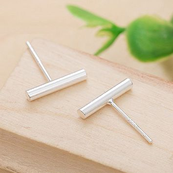 925 Sterling Silver Stud Earrings Bar Earrings Line Earrings Simplify Stick Earrings with Gift Box
