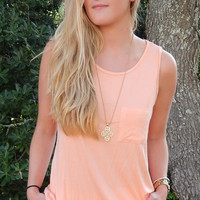Pocket Tank Top- Peach