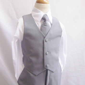 Formal Boy GRAY Tuxedo with Long Tie (5 Pieces in 1 Set) - (Size 5, 6, 7 only) - Boy Teen Toddler Ring Bearer